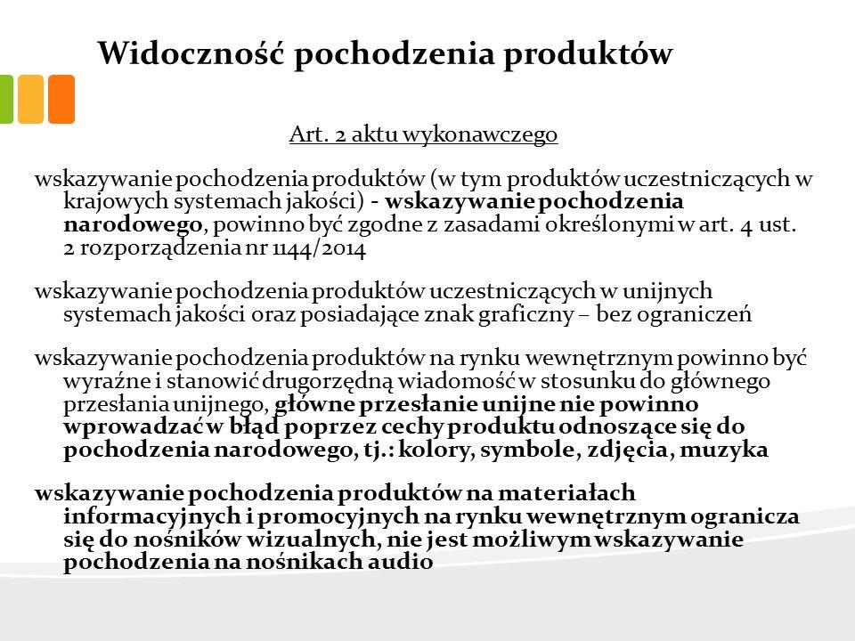 Widoczność pochodzenia produktów Art.