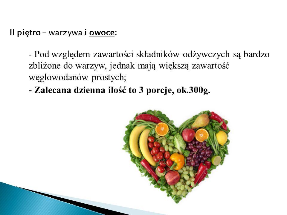 - Pod względem zawartości składników odżywczych są bardzo zbliżone do warzyw, jednak mają większą zawartość węglowodanów prostych; - Zalecana dzienna