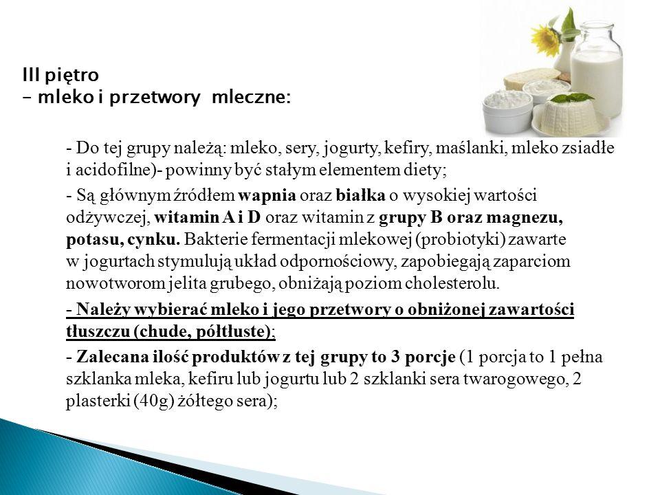 - Do tej grupy należą: mleko, sery, jogurty, kefiry, maślanki, mleko zsiadłe i acidofilne)- powinny być stałym elementem diety; - Są głównym źródłem w