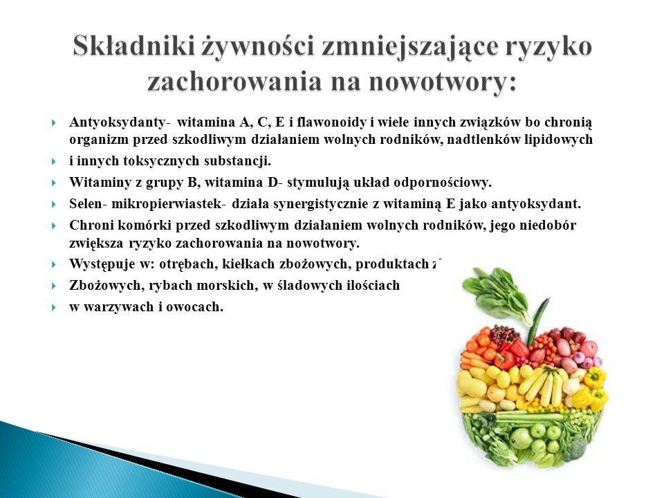 Produkty zalecaneCzynniki korzystnie działające warzywa kapustneIndole, chlorofil i inne związki antyrakowe (sok z kapusty) Marchew, sok z marchwi, warzywa zieloneB-karoten- antyoksydant Pomidory i inne warzywa oraz owoce bogate w witaminę C Likopen, witamina C- antyoksydant Czosnek, cebula, selerfitosterole SojaDziałanie przeciwestrogenowe, fitosterole, saponiny JabłkaKwas kafeinowy i chlorogenowy Owoce cytrusoweKarotenoidy, flawonoidy, terpeny, limonoidy, kumaryna, przeciwutleniacz-glutation, witamina C Zielona herbataZwiązki katechinowe Jogurty –probiotyki Prebiotyki- oligosacharydy bakterie fermentacji mlekowej Lactobacillus acidophilus, L.plantarum, Bifidobacterium bifidum.