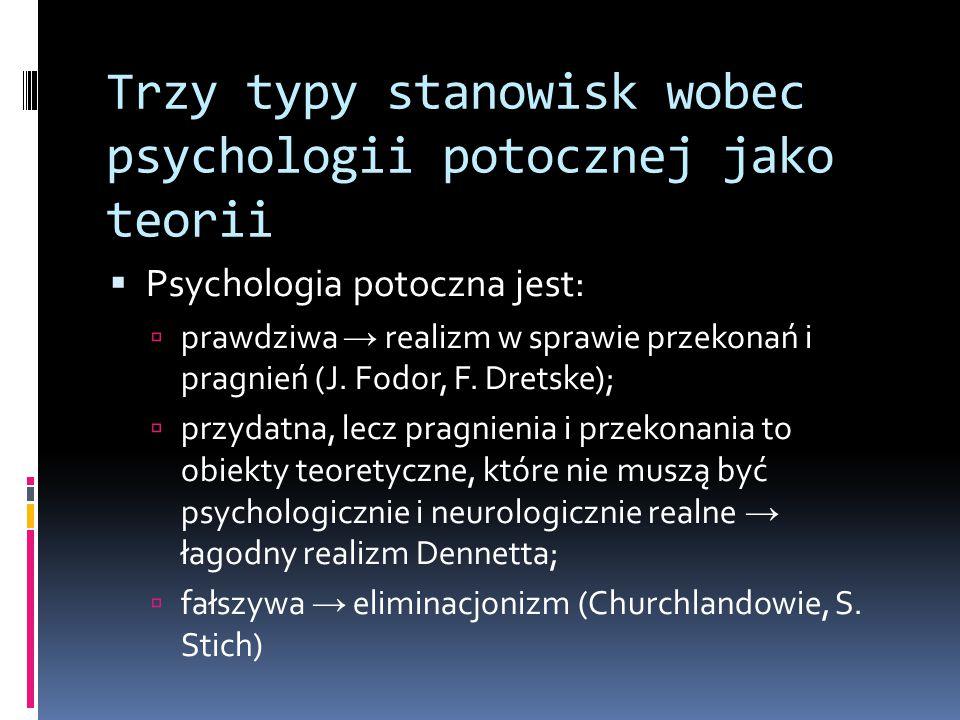 Trzy typy stanowisk wobec psychologii potocznej jako teorii  Psychologia potoczna jest:  prawdziwa → realizm w sprawie przekonań i pragnień (J.