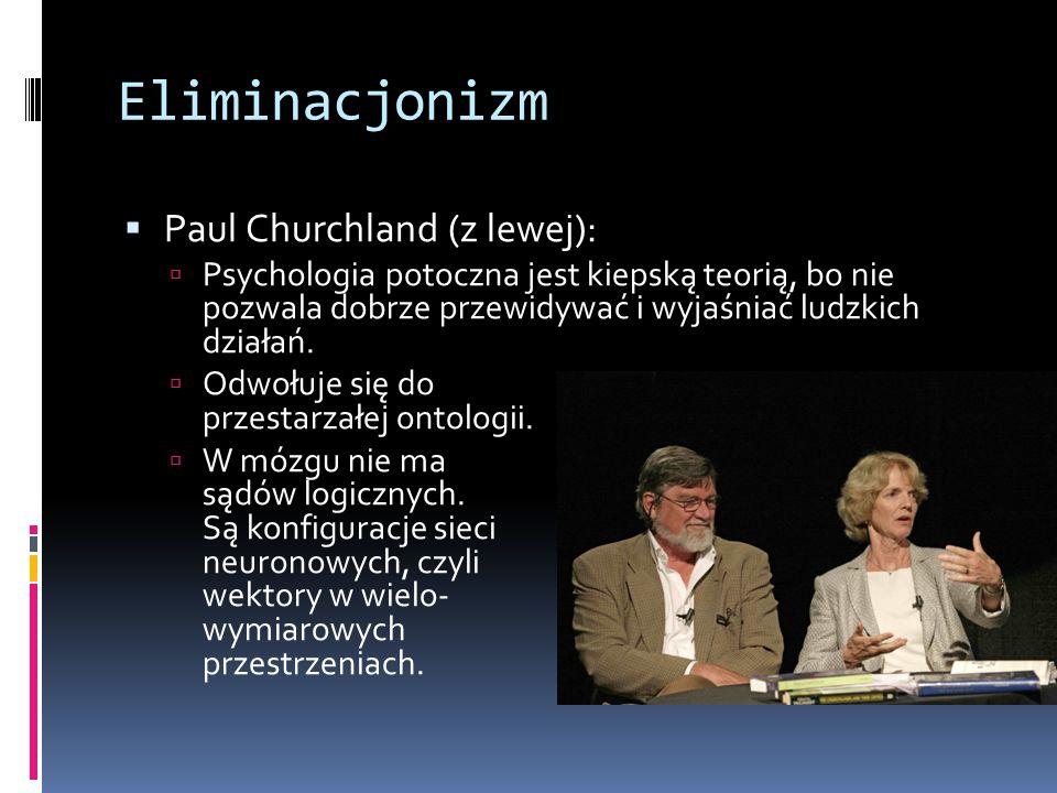 Eliminacjonizm  Paul Churchland (z lewej):  Psychologia potoczna jest kiepską teorią, bo nie pozwala dobrze przewidywać i wyjaśniać ludzkich działań.