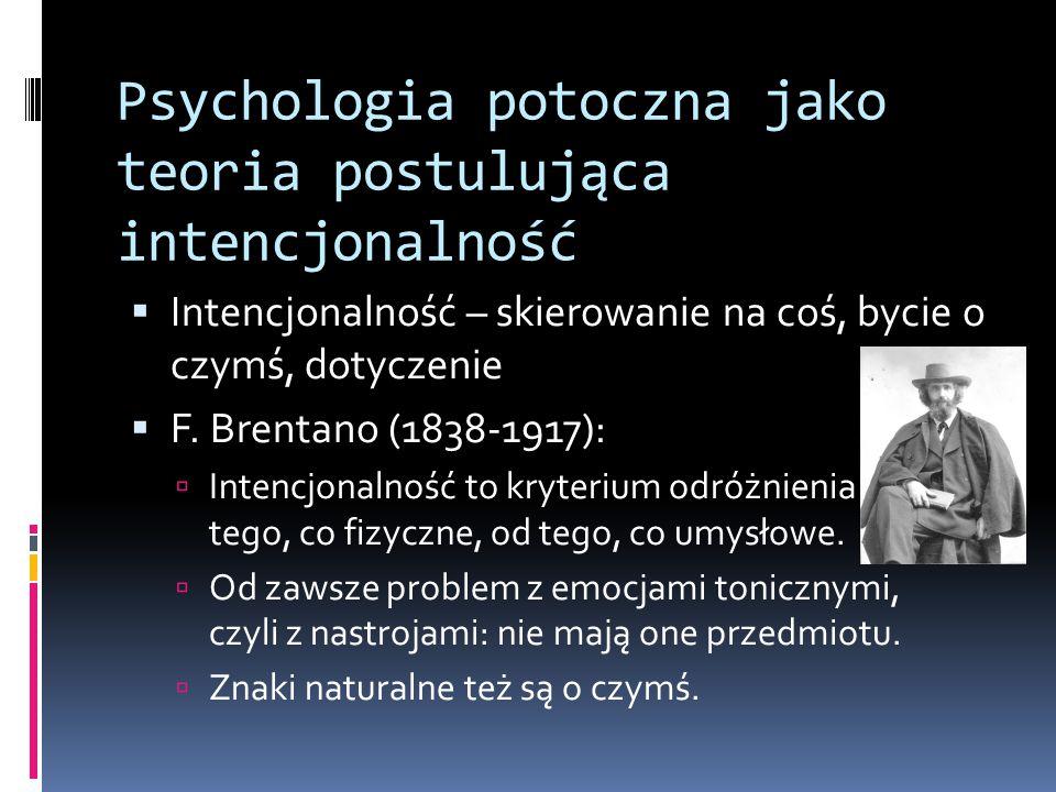 Psychologia potoczna jako teoria postulująca intencjonalność  Intencjonalność – skierowanie na coś, bycie o czymś, dotyczenie  F.