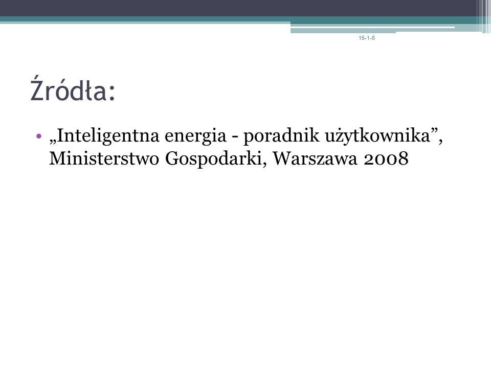 """Źródła: """"Inteligentna energia - poradnik użytkownika , Ministerstwo Gospodarki, Warszawa 2008 15-1-6"""