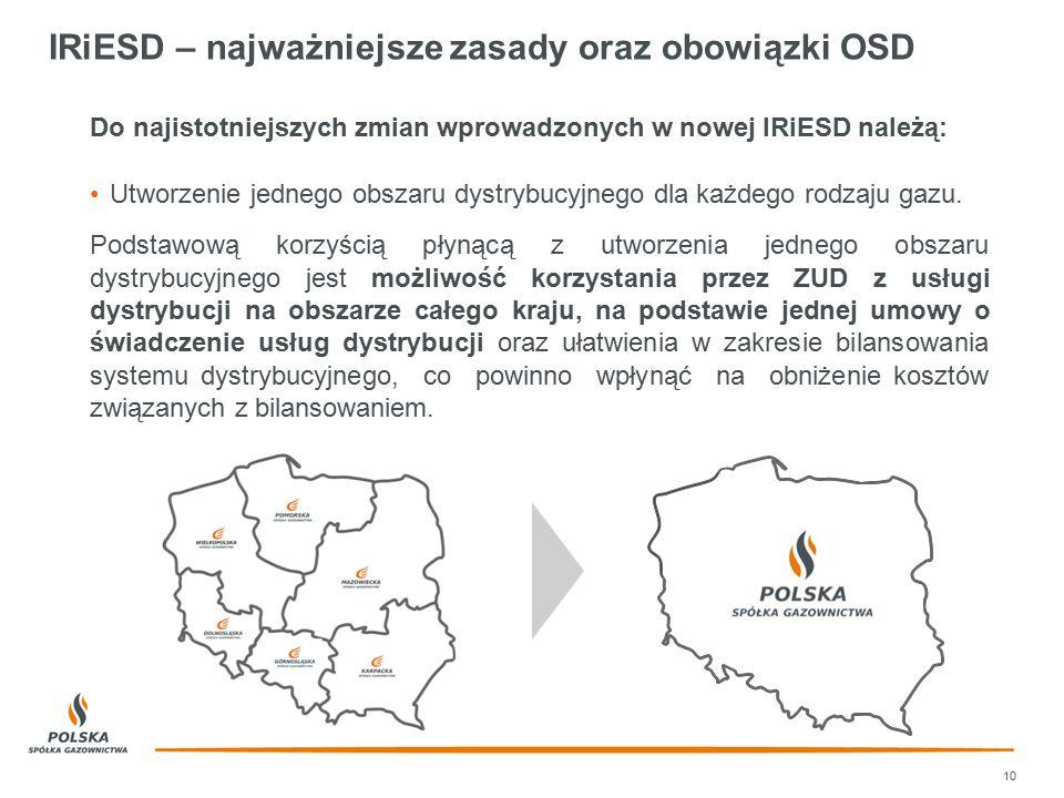 IRiESD – najważniejsze zasady oraz obowiązki OSD Do najistotniejszych zmian wprowadzonych w nowej IRiESD należą: Utworzenie jednego obszaru dystrybucy