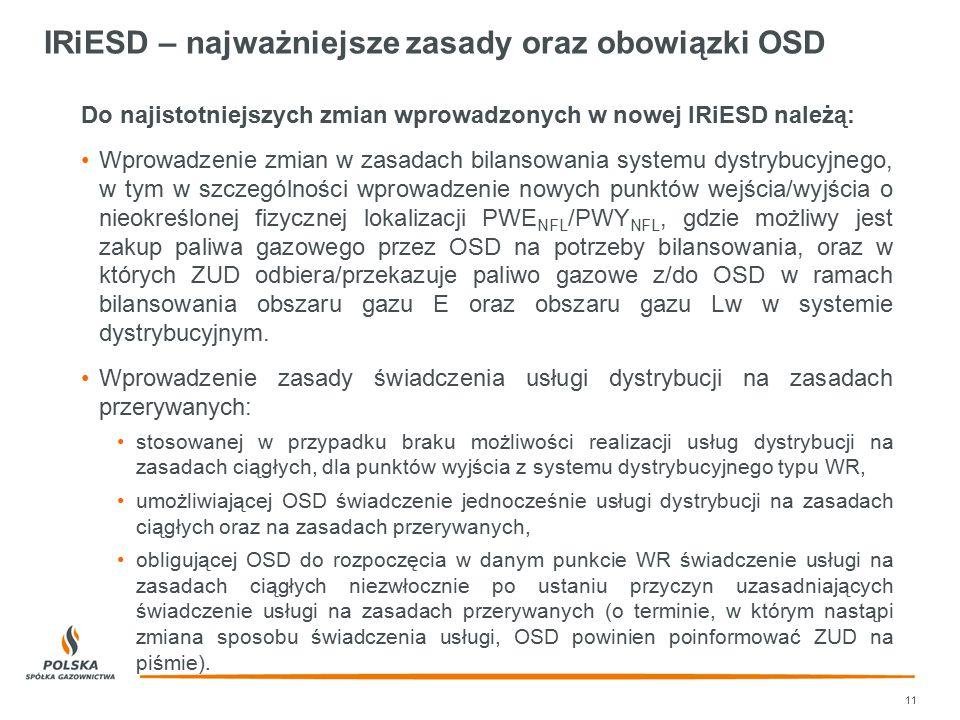IRiESD – najważniejsze zasady oraz obowiązki OSD Do najistotniejszych zmian wprowadzonych w nowej IRiESD należą: Wprowadzenie zmian w zasadach bilanso