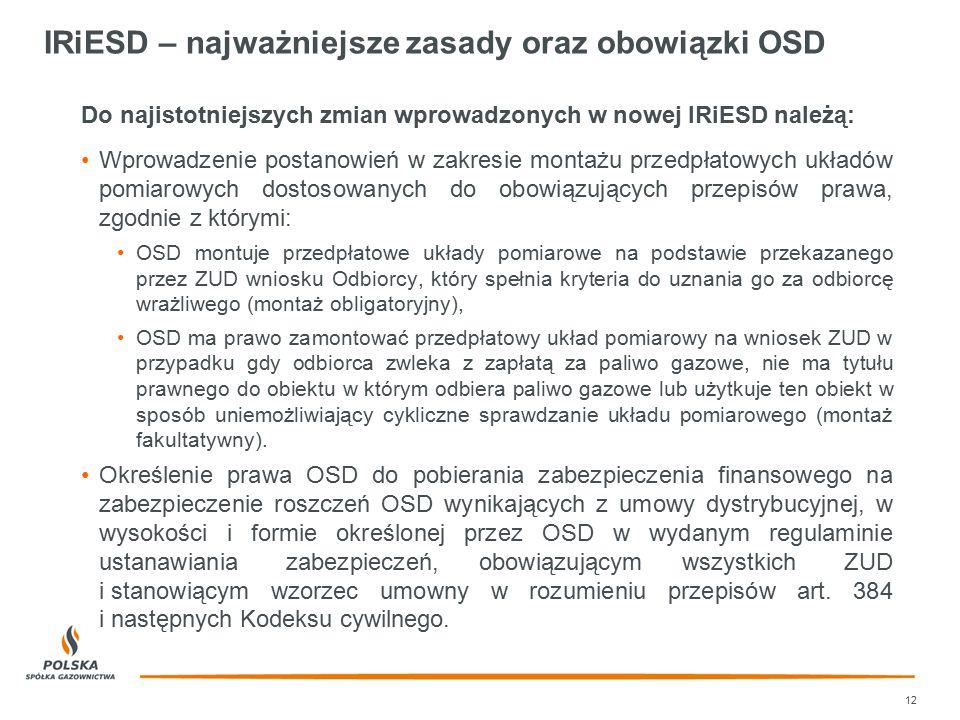 IRiESD – najważniejsze zasady oraz obowiązki OSD Do najistotniejszych zmian wprowadzonych w nowej IRiESD należą: Wprowadzenie postanowień w zakresie m