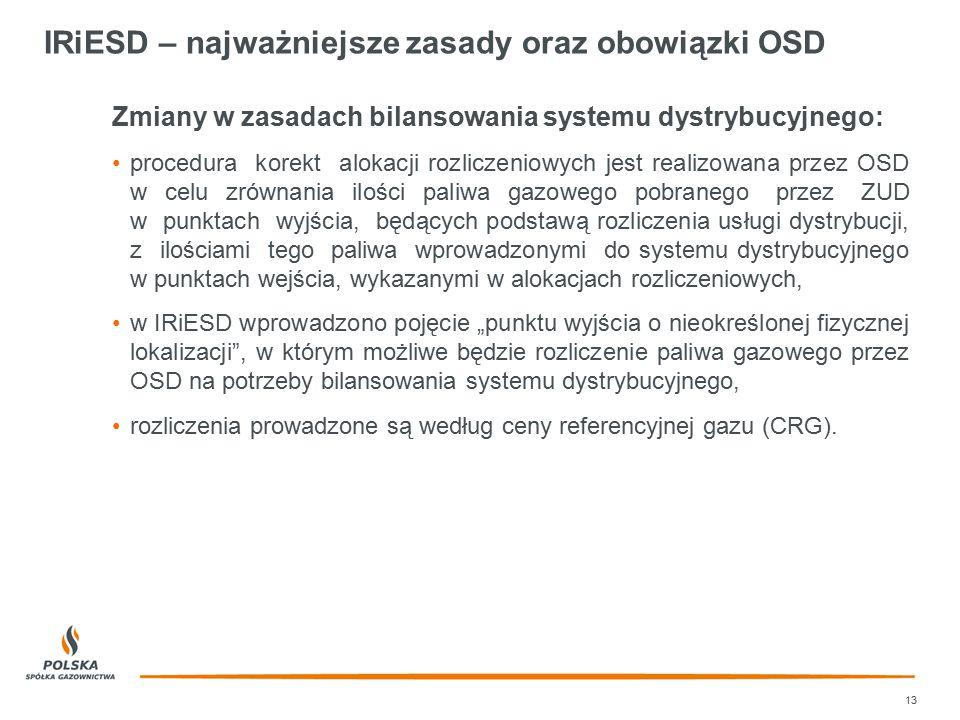 IRiESD – najważniejsze zasady oraz obowiązki OSD 13 Zmiany w zasadach bilansowania systemu dystrybucyjnego: procedura korekt alokacji rozliczeniowych