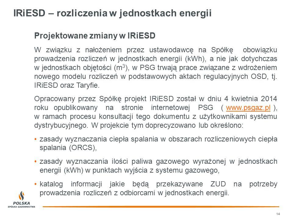 IRiESD – rozliczenia w jednostkach energii 14 Projektowane zmiany w IRiESD W związku z nałożeniem przez ustawodawcę na Spółkę obowiązku prowadzenia ro