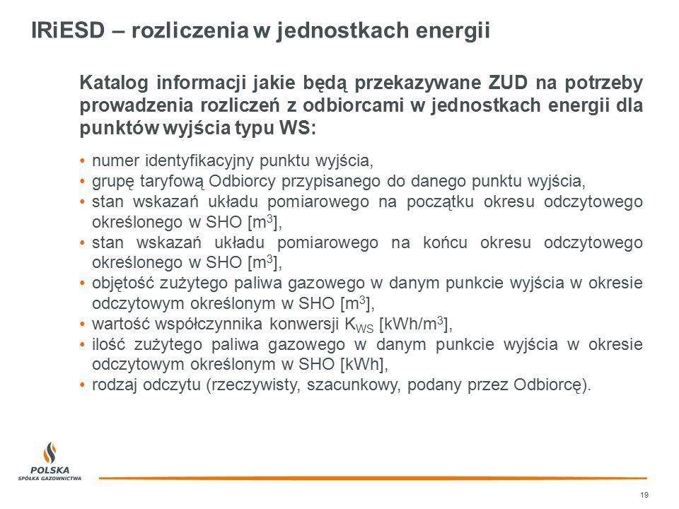 IRiESD – rozliczenia w jednostkach energii 19 Katalog informacji jakie będą przekazywane ZUD na potrzeby prowadzenia rozliczeń z odbiorcami w jednostk