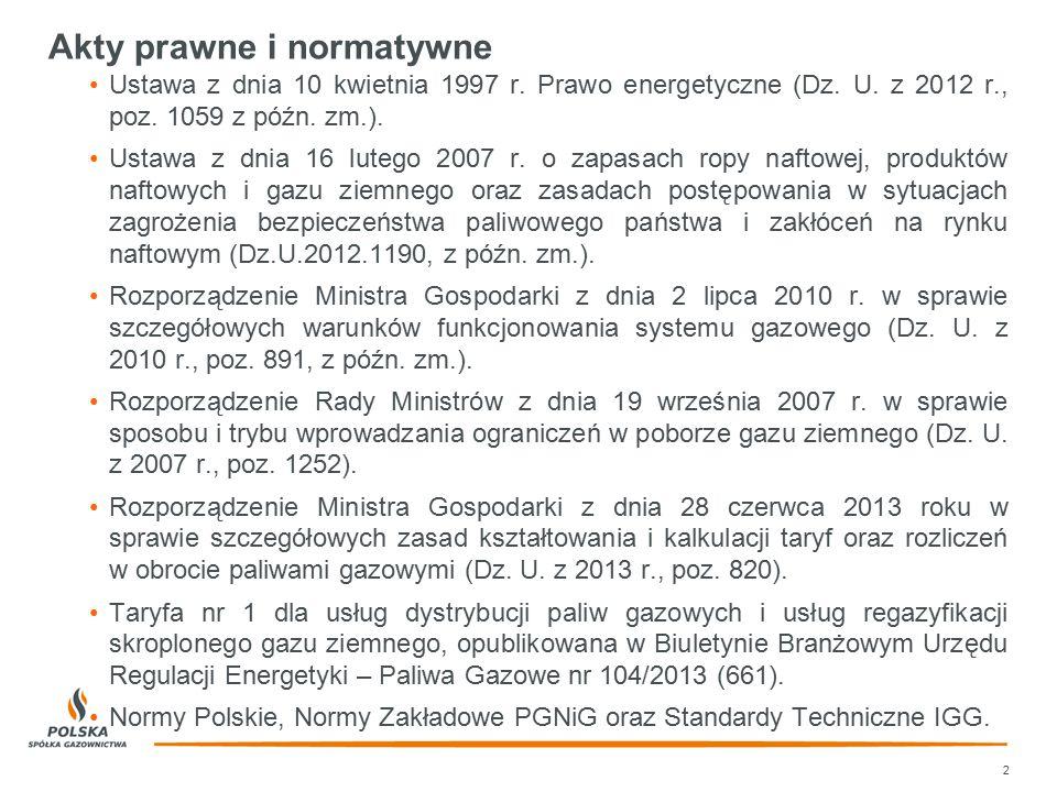 Akty prawne i normatywne Ustawa z dnia 10 kwietnia 1997 r. Prawo energetyczne (Dz. U. z 2012 r., poz. 1059 z późn. zm.). Ustawa z dnia 16 lutego 2007