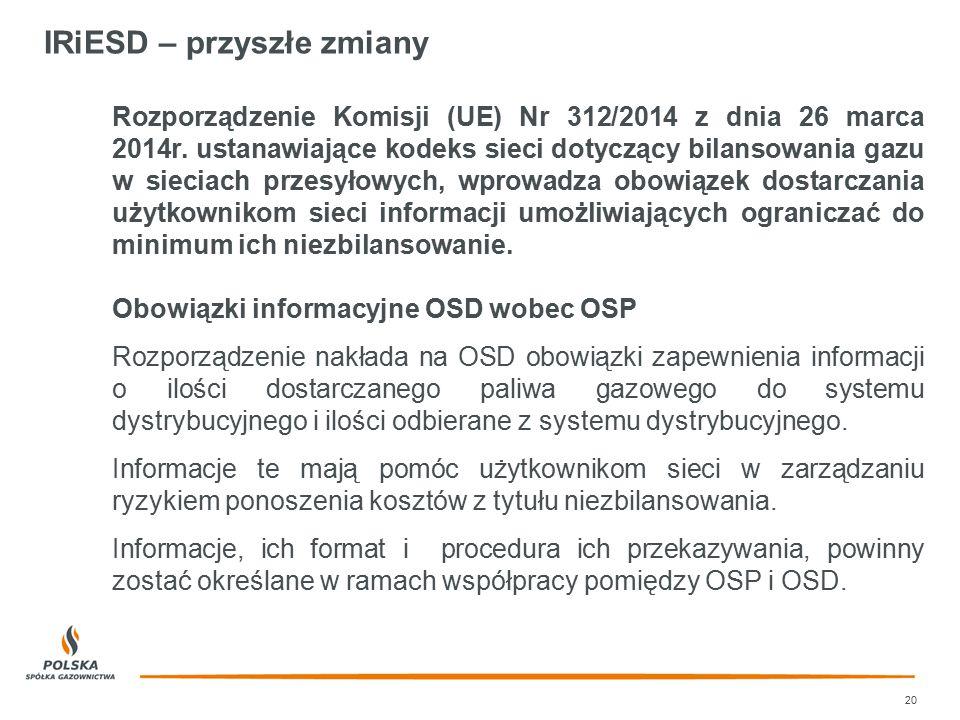IRiESD – przyszłe zmiany 20 Rozporządzenie Komisji (UE) Nr 312/2014 z dnia 26 marca 2014r. ustanawiające kodeks sieci dotyczący bilansowania gazu w si