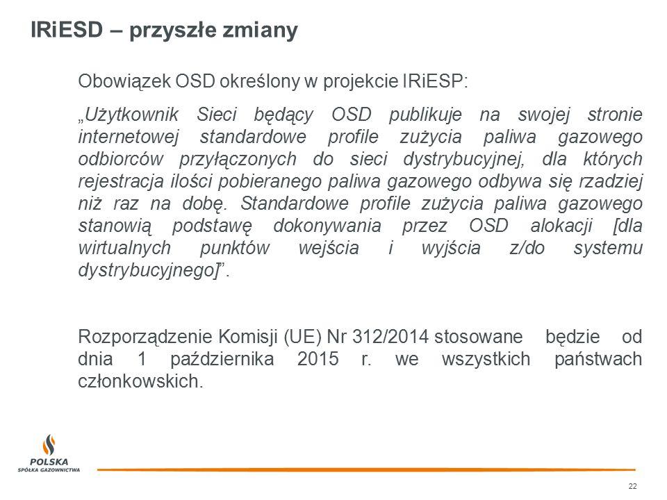 """IRiESD – przyszłe zmiany 22 Obowiązek OSD określony w projekcie IRiESP: """"Użytkownik Sieci będący OSD publikuje na swojej stronie internetowej standard"""