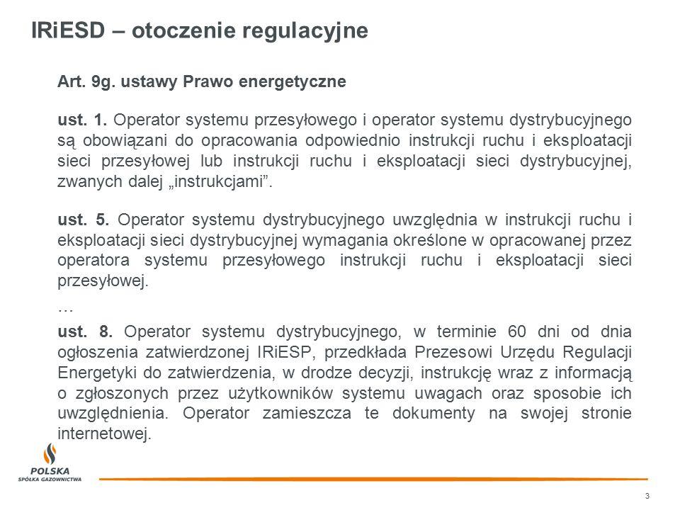 IRiESD – otoczenie regulacyjne Art. 9g. ustawy Prawo energetyczne ust. 1. Operator systemu przesyłowego i operator systemu dystrybucyjnego są obowiąza
