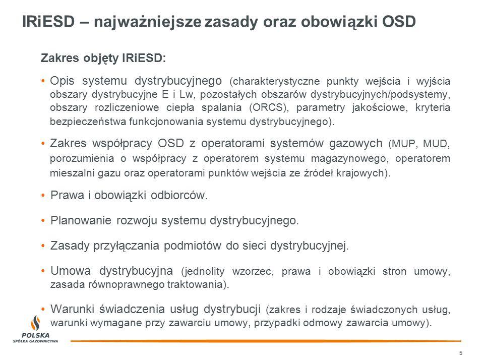 IRiESD – najważniejsze zasady oraz obowiązki OSD Zakres objęty IRiESD: Opis systemu dystrybucyjnego (charakterystyczne punkty wejścia i wyjścia obszar