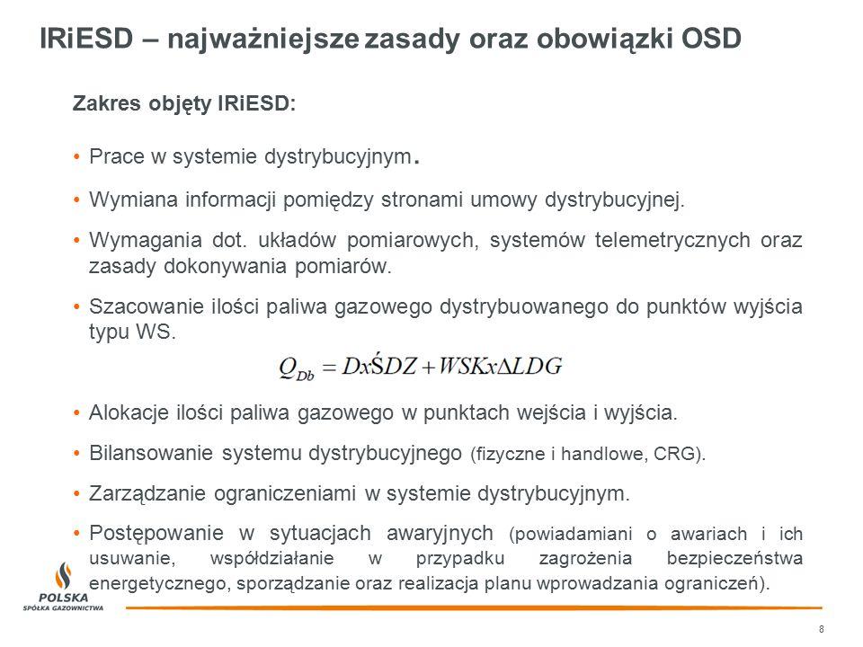 IRiESD – najważniejsze zasady oraz obowiązki OSD Zakres objęty IRiESD: Prace w systemie dystrybucyjnym. Wymiana informacji pomiędzy stronami umowy dys