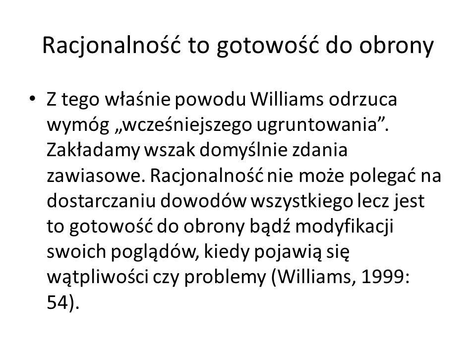 """Racjonalność to gotowość do obrony Z tego właśnie powodu Williams odrzuca wymóg """"wcześniejszego ugruntowania"""". Zakładamy wszak domyślnie zdania zawias"""