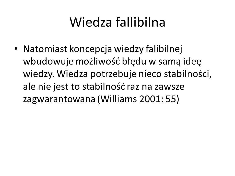 Wiedza fallibilna Natomiast koncepcja wiedzy falibilnej wbudowuje możliwość błędu w samą ideę wiedzy. Wiedza potrzebuje nieco stabilności, ale nie jes