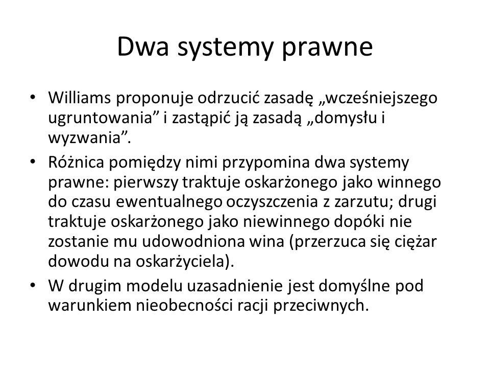 """Dwa systemy prawne Williams proponuje odrzucić zasadę """"wcześniejszego ugruntowania"""" i zastąpić ją zasadą """"domysłu i wyzwania"""". Różnica pomiędzy nimi p"""