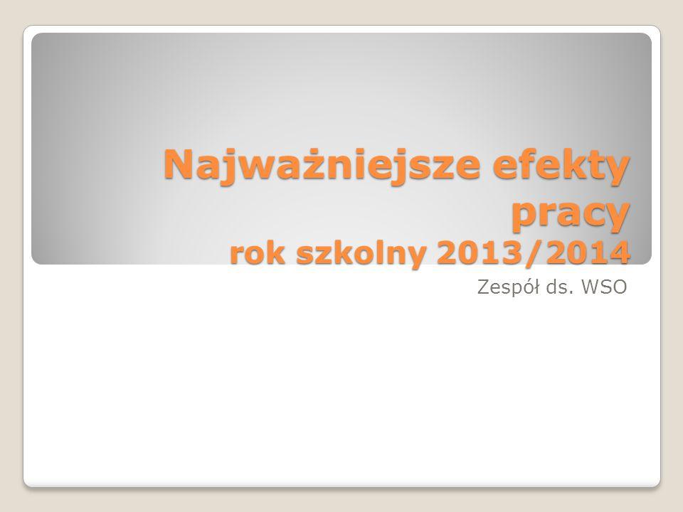 Najważniejsze efekty pracy rok szkolny 2013/2014 Zespół ds. WSO