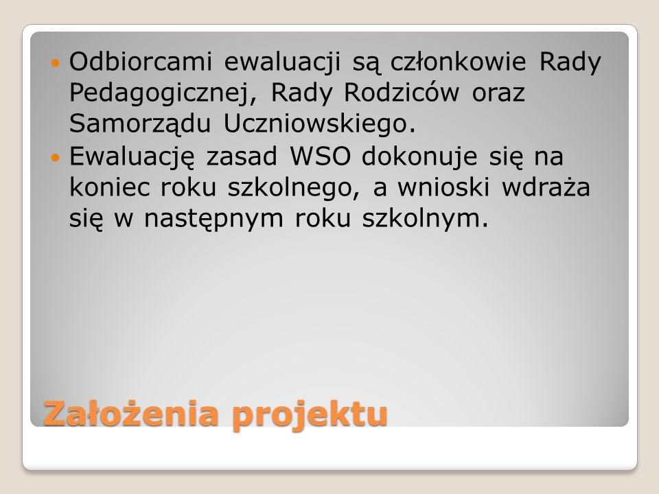Założenia projektu Odbiorcami ewaluacji są członkowie Rady Pedagogicznej, Rady Rodziców oraz Samorządu Uczniowskiego. Ewaluację zasad WSO dokonuje się