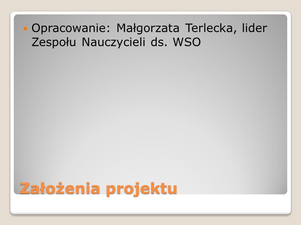 Założenia projektu Opracowanie: Małgorzata Terlecka, lider Zespołu Nauczycieli ds. WSO