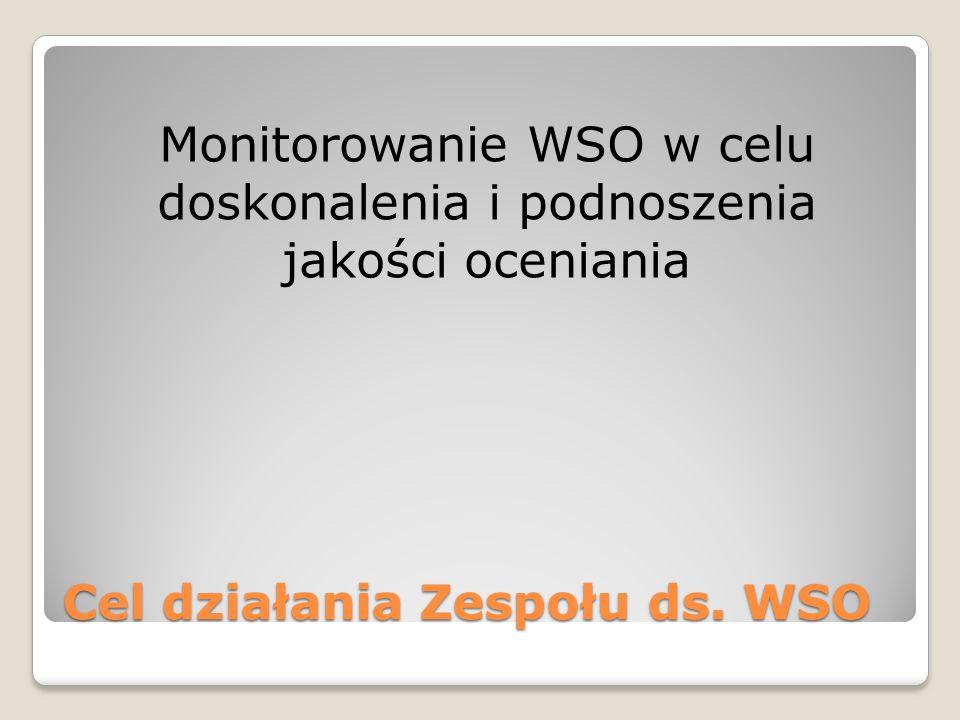 Cel działania Zespołu ds. WSO Monitorowanie WSO w celu doskonalenia i podnoszenia jakości oceniania