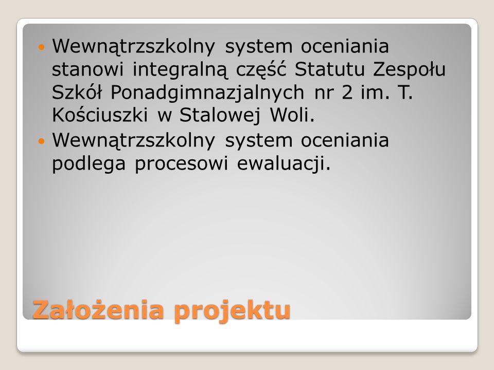 Założenia projektu Wewnątrzszkolny system oceniania stanowi integralną część Statutu Zespołu Szkół Ponadgimnazjalnych nr 2 im. T. Kościuszki w Stalowe