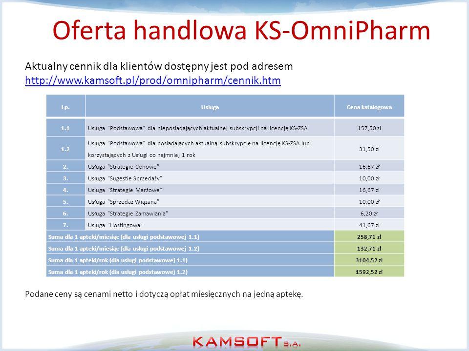 Oferta handlowa KS-OmniPharm Aktualny cennik dla klientów dostępny jest pod adresem http://www.kamsoft.pl/prod/omnipharm/cennik.htm http://www.kamsoft