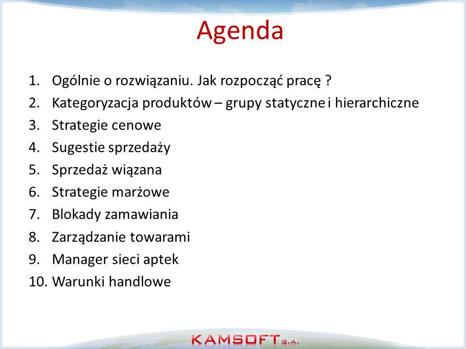 Agenda 1.Ogólnie o rozwiązaniu. Jak rozpocząć pracę ? 2.Kategoryzacja produktów – grupy statyczne i hierarchiczne 3.Strategie cenowe 4.Sugestie sprzed