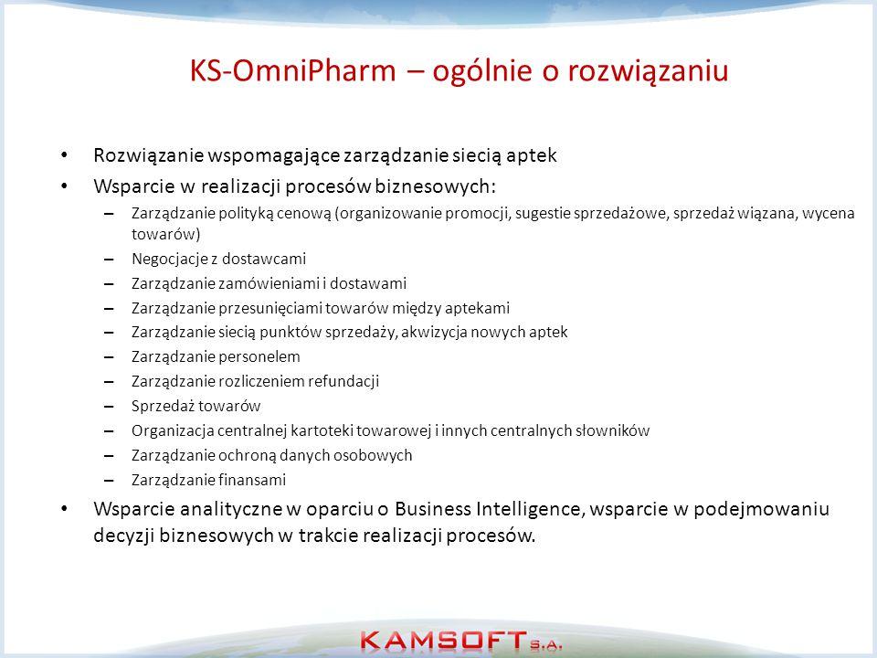 KS-OmniPharm – ogólnie o rozwiązaniu Rozwiązanie wspomagające zarządzanie siecią aptek Wsparcie w realizacji procesów biznesowych: – Zarządzanie polit