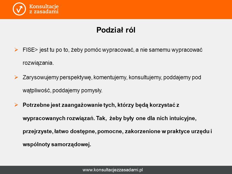 www.konsultacjezzasadami.pl Podział ról  FISE> jest tu po to, żeby pomóc wypracować, a nie samemu wypracować rozwiązania.  Zarysowujemy perspektywę,
