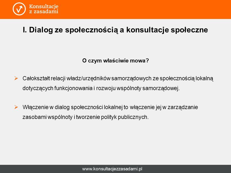 www.konsultacjezzasadami.pl I. Dialog ze społecznością a konsultacje społeczne O czym właściwie mowa?  Całokształt relacji władz/urzędników samorządo
