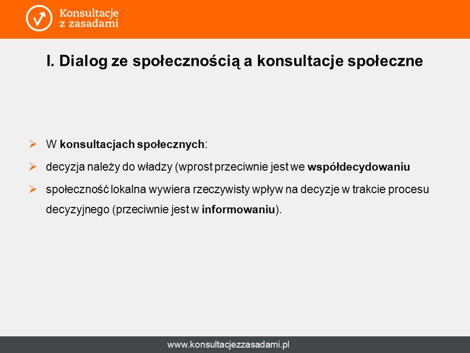 www.konsultacjezzasadami.pl I. Dialog ze społecznością a konsultacje społeczne  W konsultacjach społecznych:  decyzja należy do władzy (wprost przec