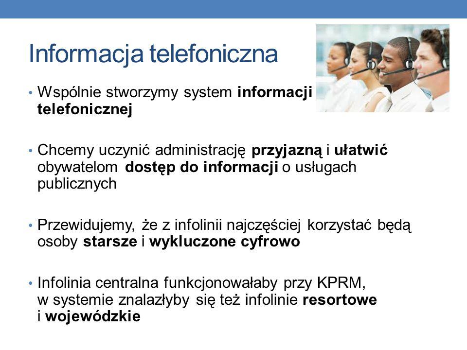 Informacja telefoniczna Wspólnie stworzymy system informacji telefonicznej Chcemy uczynić administrację przyjazną i ułatwić obywatelom dostęp do informacji o usługach publicznych Przewidujemy, że z infolinii najczęściej korzystać będą osoby starsze i wykluczone cyfrowo Infolinia centralna funkcjonowałaby przy KPRM, w systemie znalazłyby się też infolinie resortowe i wojewódzkie