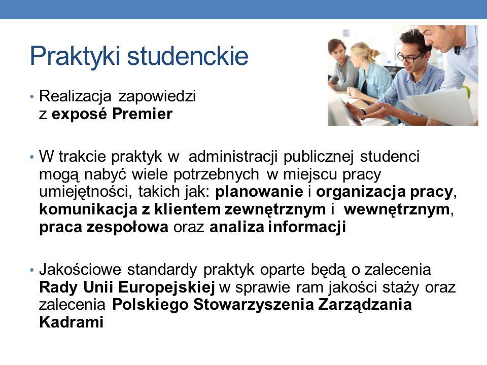 Praktyki studenckie Realizacja zapowiedzi z exposé Premier W trakcie praktyk w administracji publicznej studenci mogą nabyć wiele potrzebnych w miejscu pracy umiejętności, takich jak: planowanie i organizacja pracy, komunikacja z klientem zewnętrznym i wewnętrznym, praca zespołowa oraz analiza informacji Jakościowe standardy praktyk oparte będą o zalecenia Rady Unii Europejskiej w sprawie ram jakości staży oraz zalecenia Polskiego Stowarzyszenia Zarządzania Kadrami