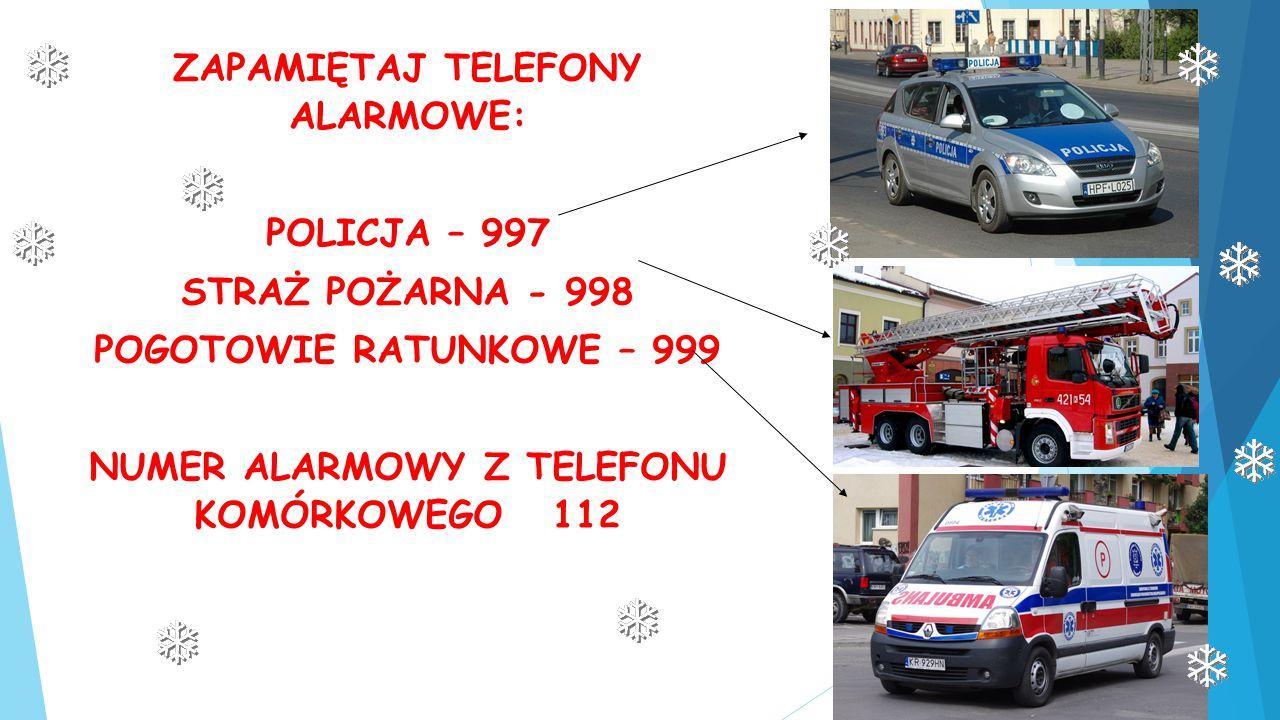 ZAPAMIĘTAJ TELEFONY ALARMOWE: POLICJA – 997 STRAŻ POŻARNA - 998 POGOTOWIE RATUNKOWE – 999 NUMER ALARMOWY Z TELEFONU KOMÓRKOWEGO 112
