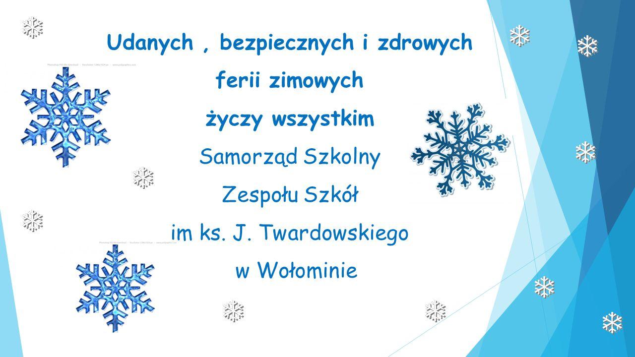 Udanych, bezpiecznych i zdrowych ferii zimowych życzy wszystkim Samorząd Szkolny Zespołu Szkół im ks. J. Twardowskiego w Wołominie