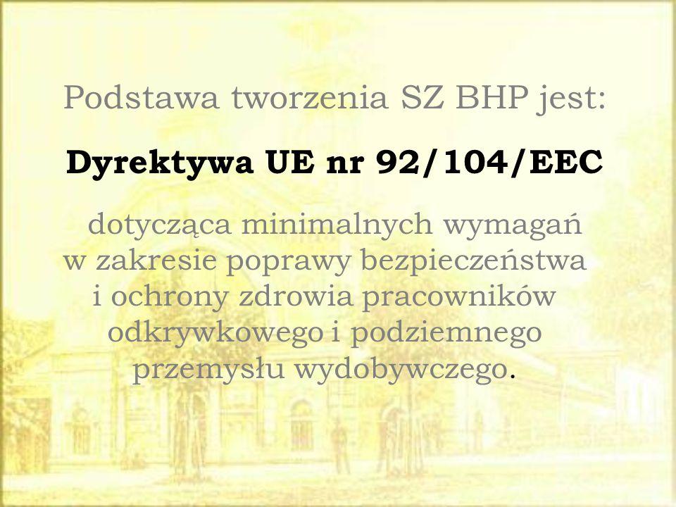 Podstawa tworzenia SZ BHP jest: Dyrektywa UE nr 92/104/EEC dotycząca minimalnych wymagań w zakresie poprawy bezpieczeństwa i ochrony zdrowia pracownik