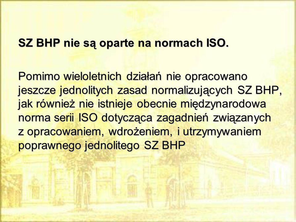 SZ BHP nie są oparte na normach ISO. Pomimo wieloletnich działań nie opracowano jeszcze jednolitych zasad normalizujących SZ BHP, jak r ó wnież nie is