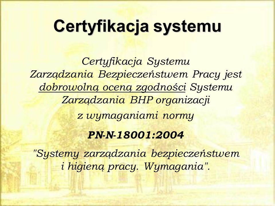 Certyfikacja systemu Certyfikacja Systemu Zarządzania Bezpieczeństwem Pracy jest dobrowolną oceną zgodności Systemu Zarządzania BHP organizacji z wyma