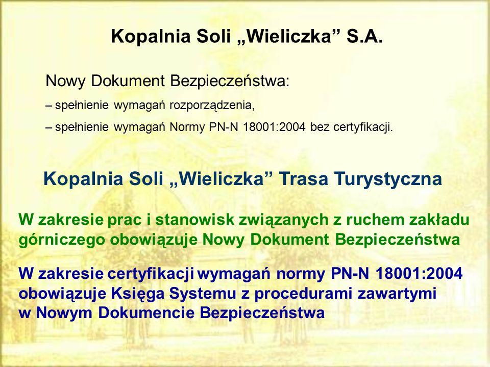 """Kopalnia Soli """"Wieliczka"""" S.A. Nowy Dokument Bezpieczeństwa: –spełnienie wymagań rozporządzenia, –spełnienie wymagań Normy PN-N 18001:2004 bez certyfi"""