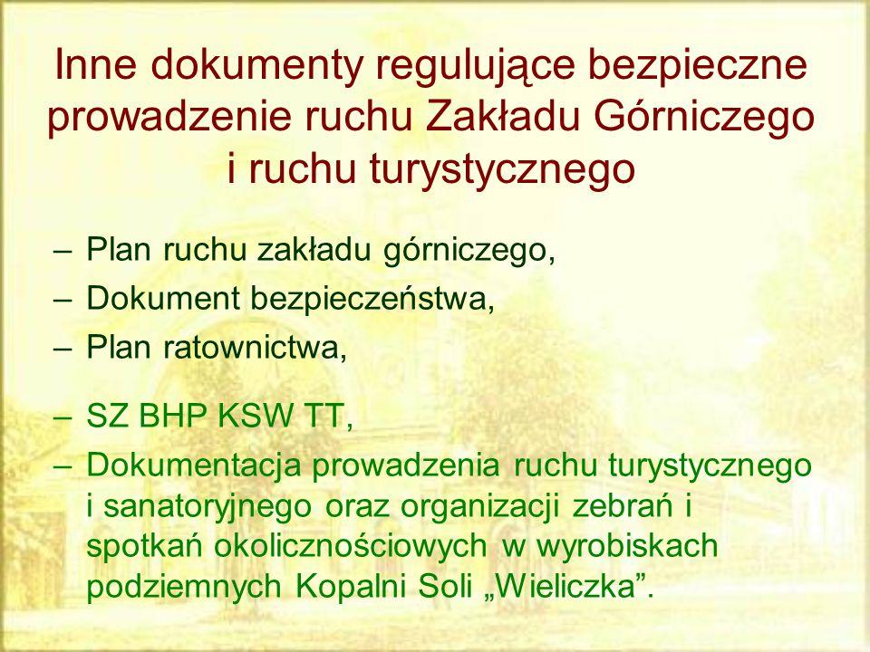 –Plan ruchu zakładu górniczego, –Dokument bezpieczeństwa, –Plan ratownictwa, –SZ BHP KSW TT, –Dokumentacja prowadzenia ruchu turystycznego i sanatoryj