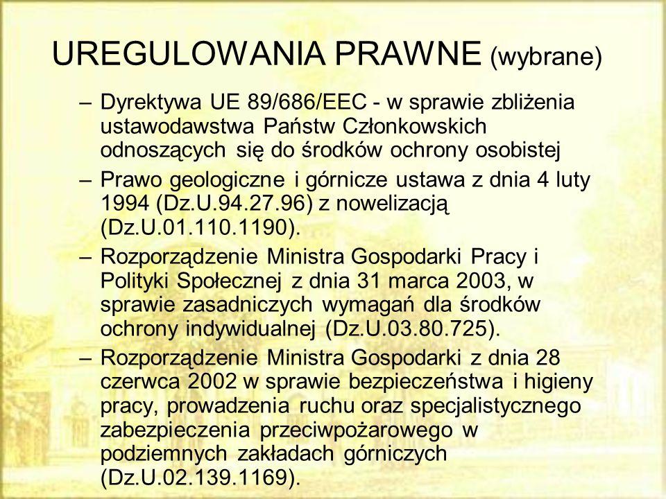 UREGULOWANIA PRAWNE (wybrane) –Dyrektywa UE 89/686/EEC - w sprawie zbliżenia ustawodawstwa Państw Członkowskich odnoszących się do środków ochrony oso