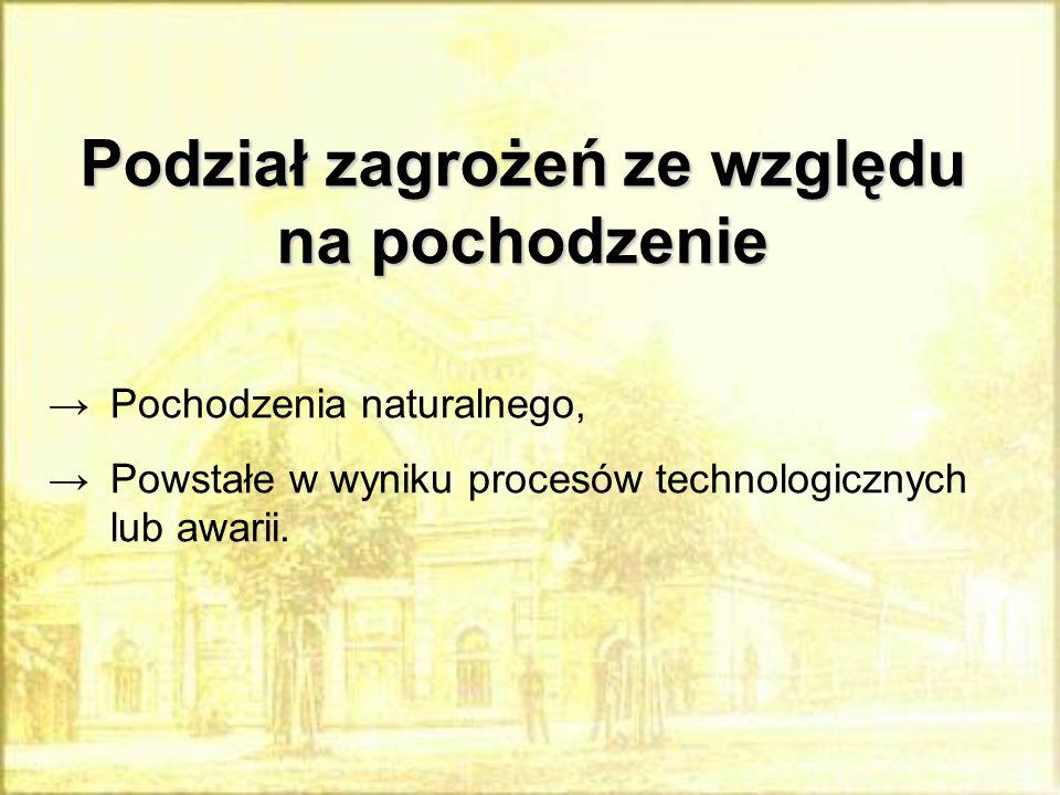 Podział zagrożeń ze względu na pochodzenie →Pochodzenia naturalnego, →Powstałe w wyniku procesów technologicznych lub awarii.