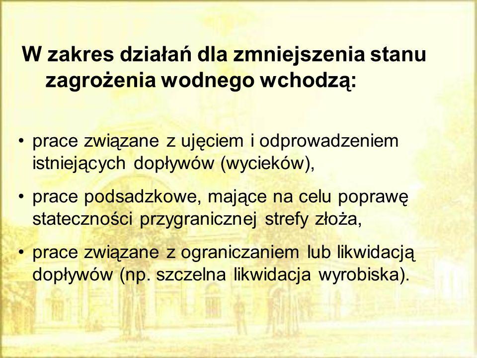 W zakres działań dla zmniejszenia stanu zagrożenia wodnego wchodzą: prace związane z ujęciem i odprowadzeniem istniejących dopływów (wycieków), prace