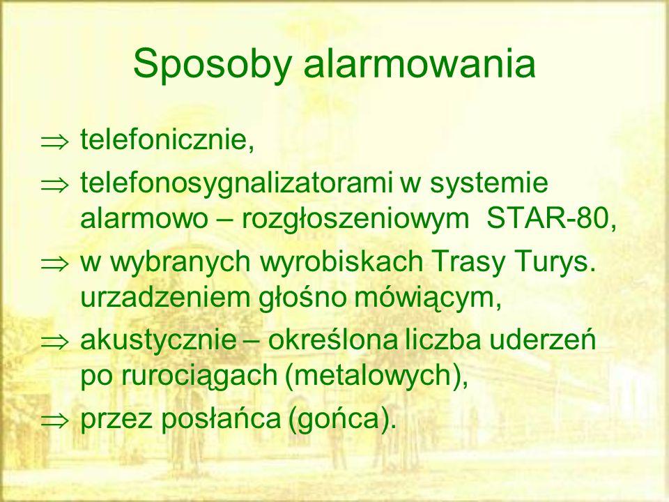 Sposoby alarmowania  telefonicznie,  telefonosygnalizatorami w systemie alarmowo – rozgłoszeniowym STAR-80,  w wybranych wyrobiskach Trasy Turys. u
