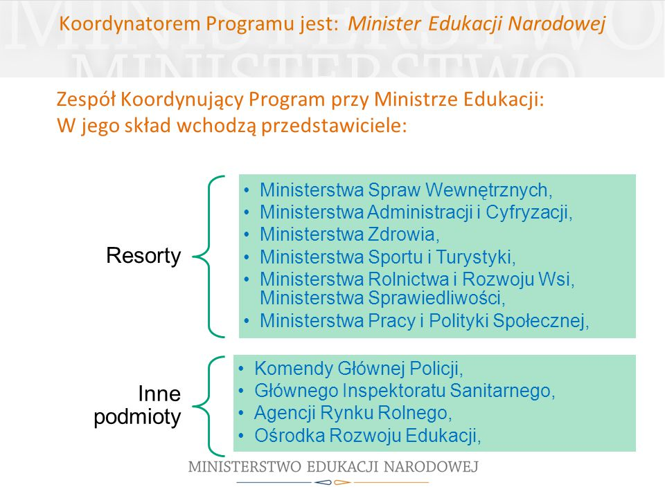 Koordynatorem Programu jest: Minister Edukacji Narodowej Zespół Koordynujący Program przy Ministrze Edukacji: W jego skład wchodzą przedstawiciele: Re