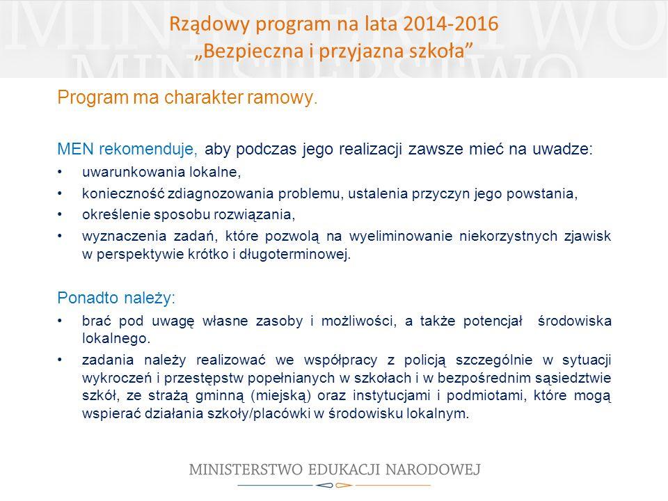 Program ma charakter ramowy. MEN rekomenduje, aby podczas jego realizacji zawsze mieć na uwadze: uwarunkowania lokalne, konieczność zdiagnozowania pro