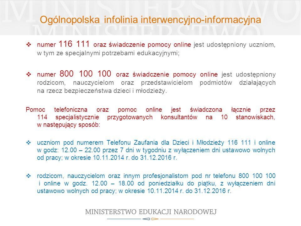 Ogólnopolska infolinia interwencyjno-informacyjna  numer 116 111 oraz świadczenie pomocy online jest udostępniony uczniom, w tym ze specjalnymi potrz